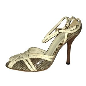 Gucci Python Snakeskin Peep Toe Sandal 7 Left Only